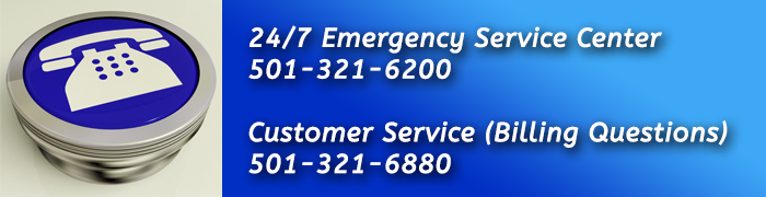 graphic with 24/7 Emergency Service Center phone number 501-321-6200 and billing 321-6880